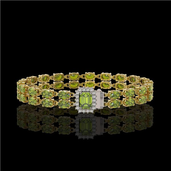 16.97 ctw Tourmaline & Diamond Bracelet 14K Yellow Gold - REF-236H4R