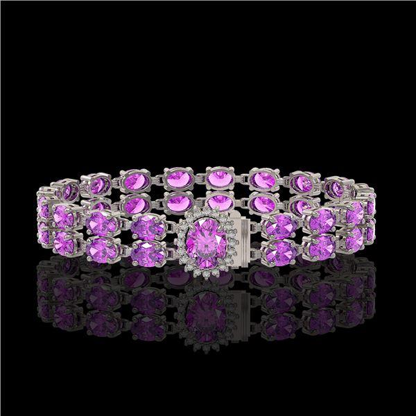 24.82 ctw Amethyst & Diamond Bracelet 14K White Gold - REF-218X2A