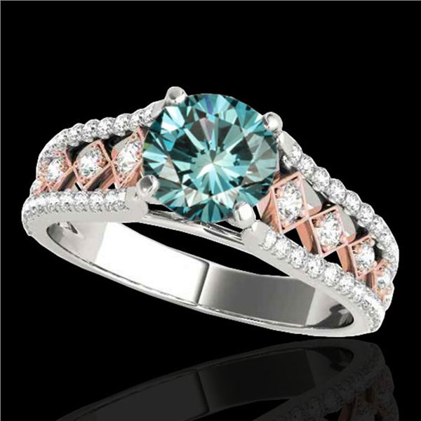 1.45 ctw SI Certified Blue Diamond Solitaire Ring 10k 2Tone Gold - REF-130X9A