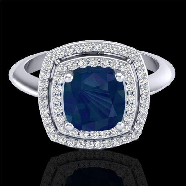2.52 ctw Sapphire & Micro VS/SI Diamond Pave Ring 18k White Gold - REF-77K3Y
