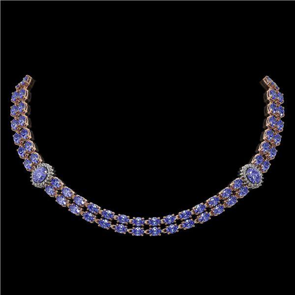 36.19 ctw Tanzanite & Diamond Necklace 14K Rose Gold - REF-527G3W