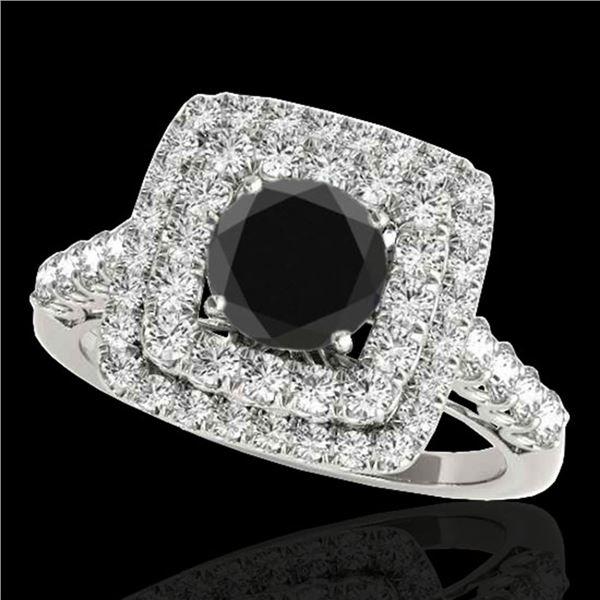 2.05 ctw Certified VS Black Diamond Solitaire Halo Ring 10k White Gold - REF-85G5W