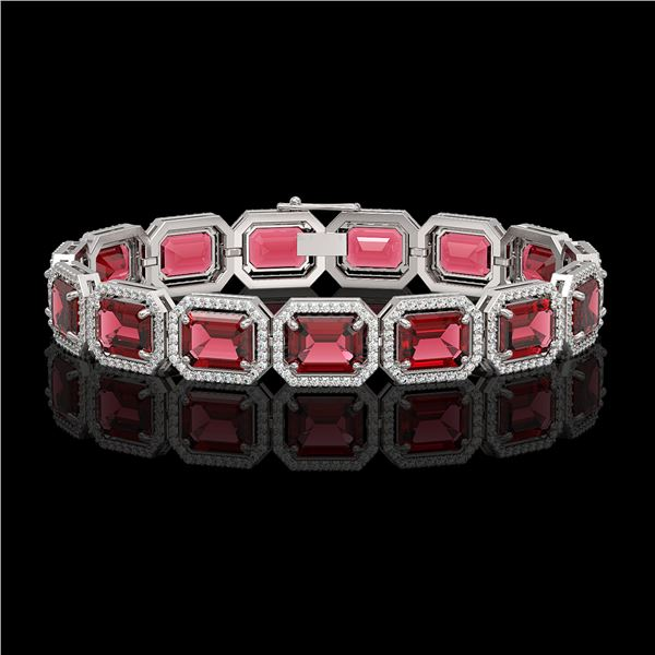 36.51 ctw Tourmaline & Diamond Micro Pave Halo Bracelet 10k White Gold - REF-1181H8R