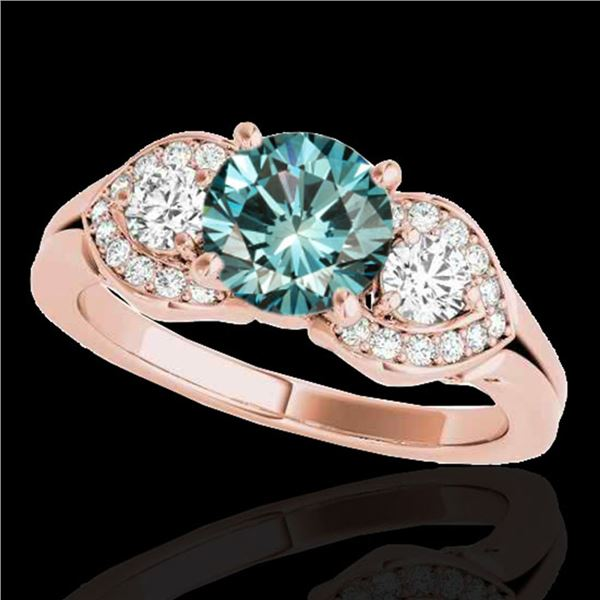 1.45 ctw SI Certified Fancy Blue Diamond 3 Stone Ring 10k Rose Gold - REF-150M2G