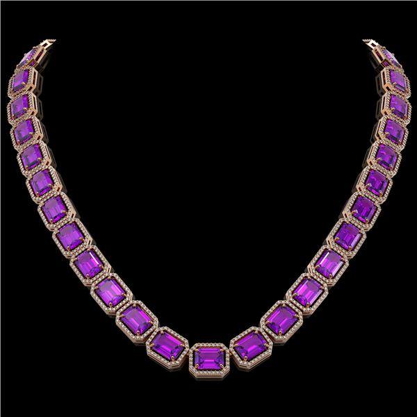 76.69 ctw Amethyst & Diamond Micro Pave Halo Necklace 10k Rose Gold - REF-711F3M