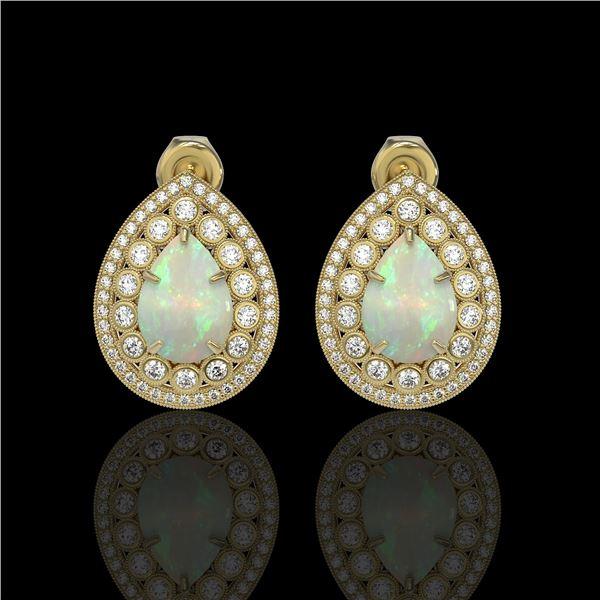 7.88 ctw Certified Opal & Diamond Victorian Earrings 14K Yellow Gold - REF-244F2M