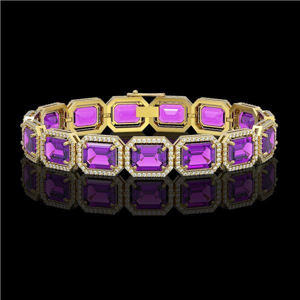 34.86 ctw Amethyst & Diamond Micro Pave Halo Bracelet 10k Yellow Gold - REF-345F5M