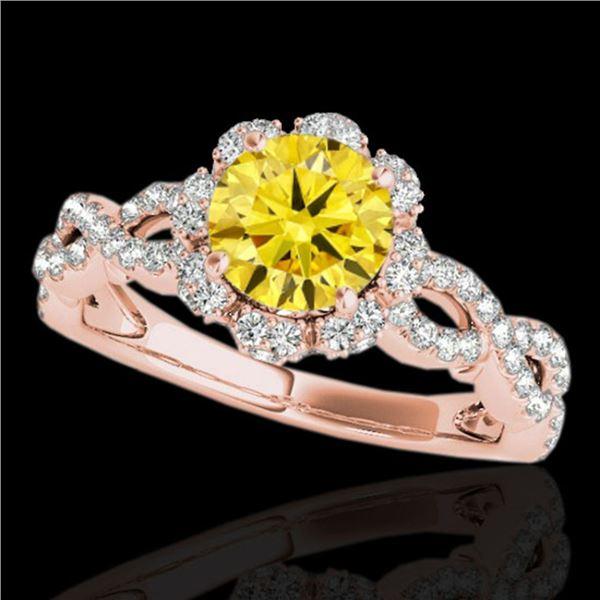 1.69 ctw Certified SI/I Fancy Intense Yellow Diamond Ring 10k Rose Gold - REF-197H8R