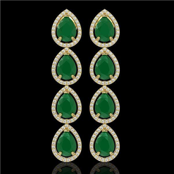 16.01 ctw Emerald & Diamond Micro Pave Halo Earrings 10k Yellow Gold - REF-236H4R