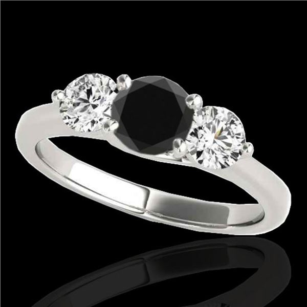3 ctw Certified VS Black Diamond 3 Stone Solitaire Ring 10k White Gold - REF-135A2N