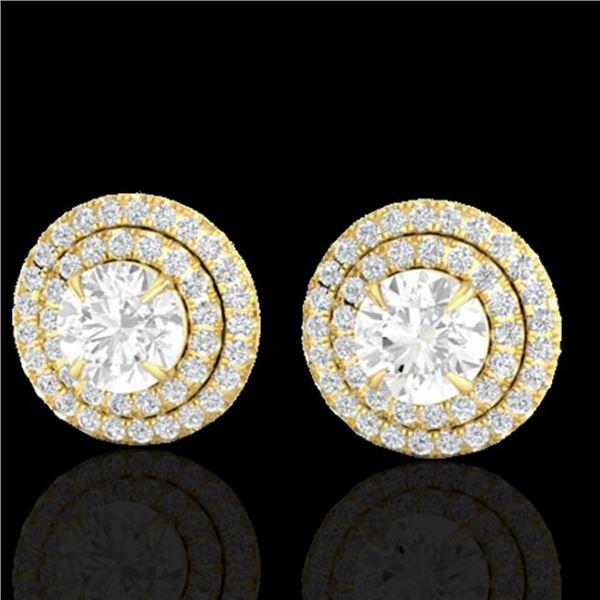 2 ctw Micro Pave VS/SI Diamond Certified Stud Earrings 18k Yellow Gold - REF-263R6K