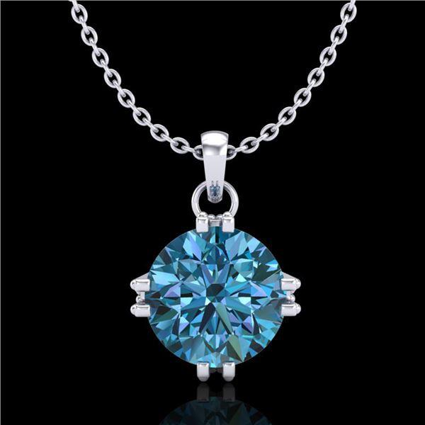1 ctw Intense Blue Diamond Art Deco Stud Necklace 18k White Gold - REF-167G3W