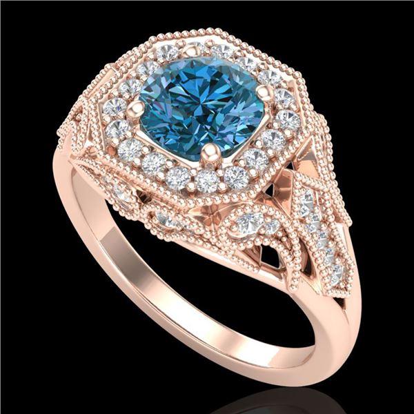 1.75 ctw Fancy Intense Blue Diamond Art Deco Ring 18k Rose Gold - REF-236F4M