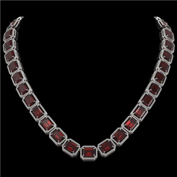 73.44 ctw Garnet & Diamond Micro Pave Halo Necklace 10k White Gold - REF-696R2K
