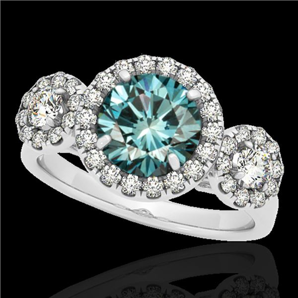 1.75 ctw SI Certified Fancy Blue Diamond Halo Ring 10k White Gold - REF-135R2K
