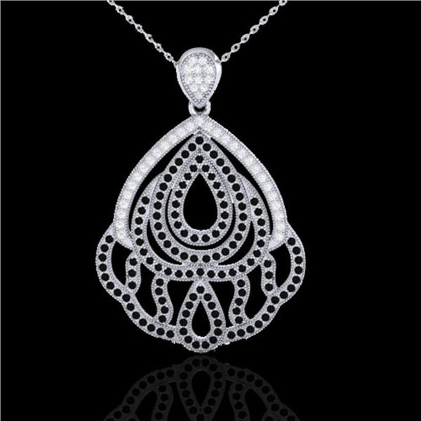 1.50 ctw Micro Black & VS/SI Diamond Necklace Designer 18k White Gold - REF-168M5G
