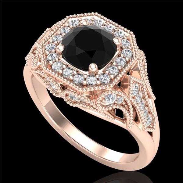 1.75 ctw Fancy Black Diamond Engagment Art Deco Ring 18k Rose Gold - REF-136F4M