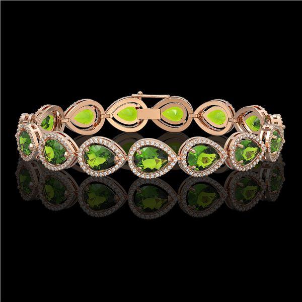 15.8 ctw Peridot & Diamond Micro Pave Halo Bracelet 10k Rose Gold - REF-316G8W