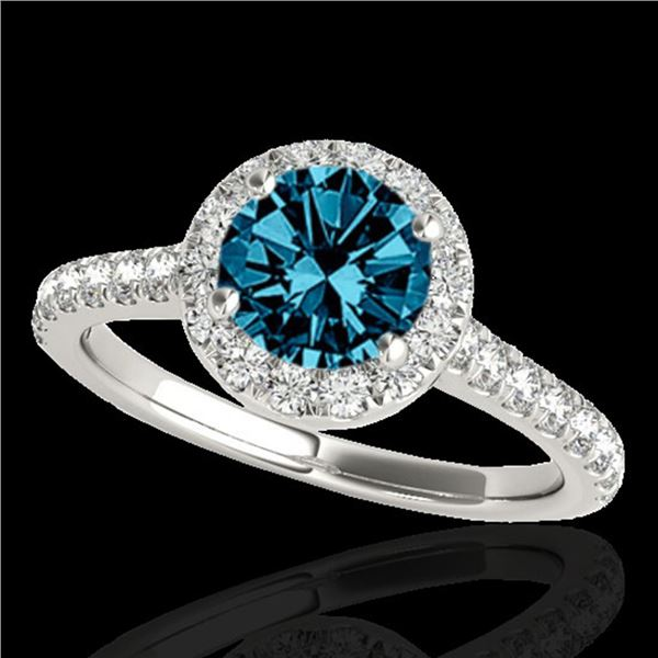 1.70 ctw SI Certified Fancy Blue Diamond Solitaire Halo Ring 10k White Gold - REF-156G8W