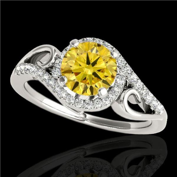 1.25 ctw Certified SI Fancy Intense Diamond Halo Ring 10k White Gold - REF-190A9N
