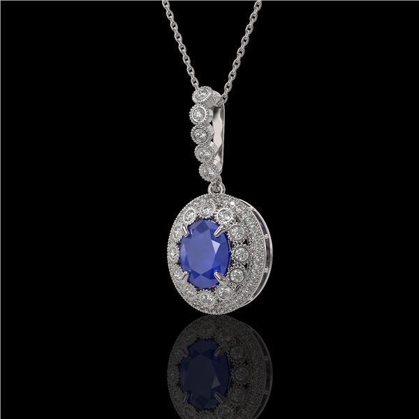 4.67 ctw Sapphire & Diamond Victorian Necklace 14K White Gold - REF-123F6M