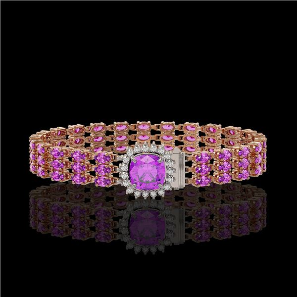 24.75 ctw Amethyst & Diamond Bracelet 14K Rose Gold - REF-281A8N