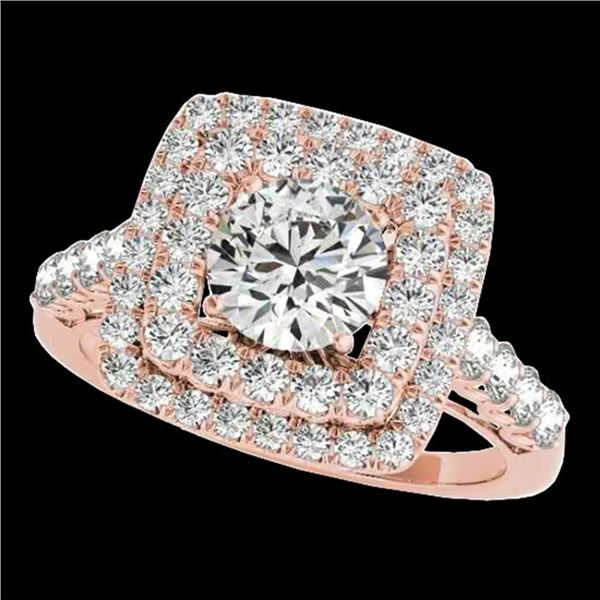 2.3 ctw Certified Diamond Solitaire Halo Ring 10k Rose Gold - REF-286X4A