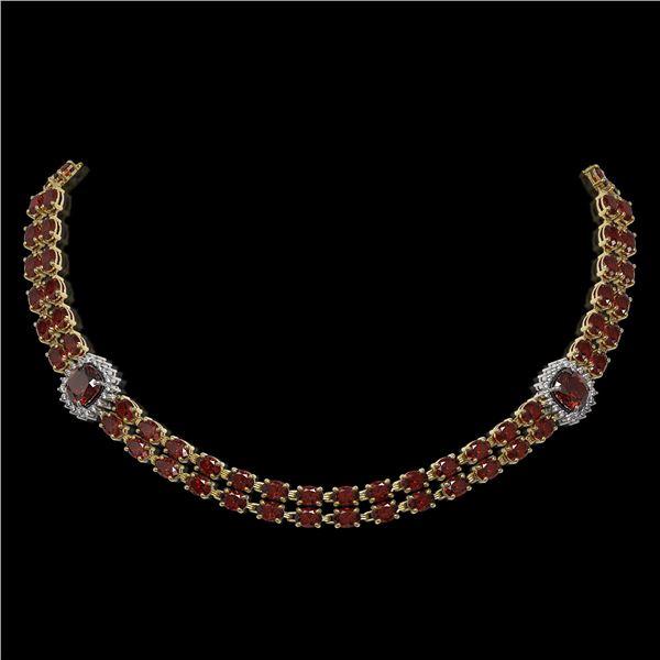 33.54 ctw Garnet & Diamond Necklace 14K Yellow Gold - REF-527W3H