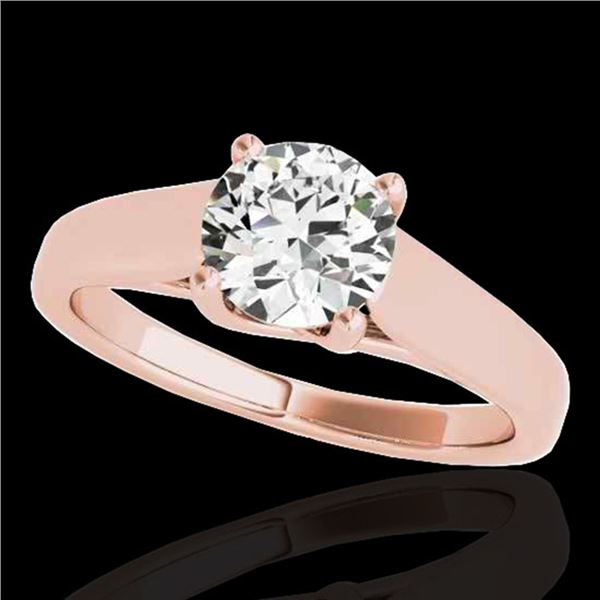 1 ctw Certified Diamond Solitaire Ring 10k Rose Gold - REF-182F8M