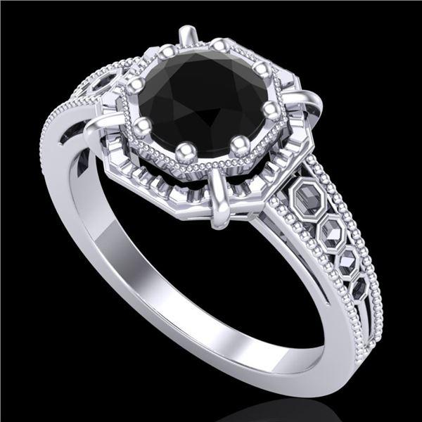 1 ctw Fancy Black Diamond Engagment Art Deco Ring 18k White Gold - REF-100W2H