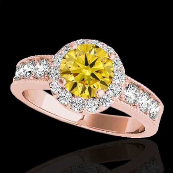 2.1 ctw Certified SI/I Fancy Intense Yellow Diamond Ring 10k Rose Gold - REF-259A3N