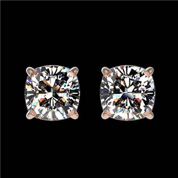 1 ctw Certified VS/SI Quality Cushion Diamond Stud Earrings 10k Rose Gold - REF-120K3Y