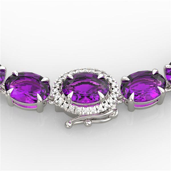 45.25 ctw Amethyst & VS/SI Diamond Micro Pave Necklace 14k White Gold - REF-263F6M