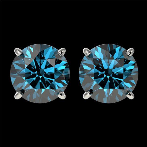 2.50 ctw Certified Intense Blue Diamond Stud Earrings 10k White Gold - REF-228H3R