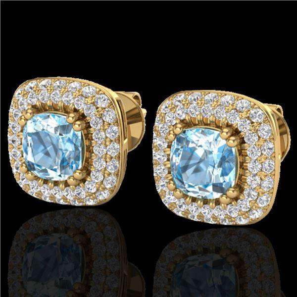2.16 ctw Sky Blue Topaz & Micro VS/SI Diamond Earrings 18k Yellow Gold - REF-98N4F