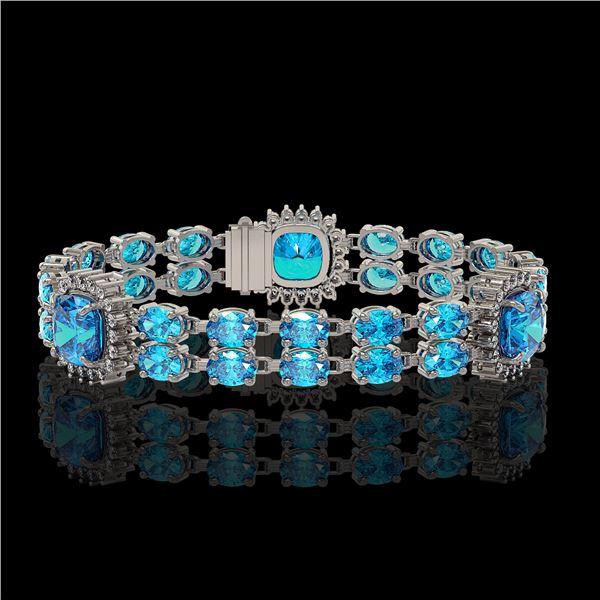 18.97 ctw Swiss Topaz & Diamond Bracelet 14K White Gold - REF-237K8Y