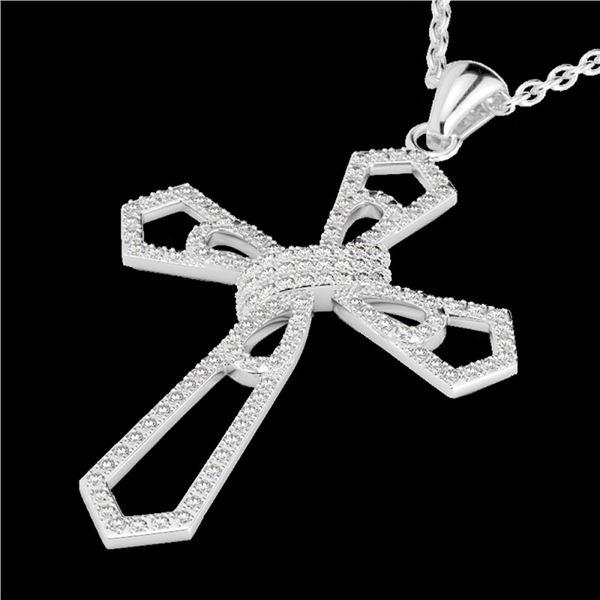 1 ctw Micro Pave VS/SI Diamond Cross Necklace 18k White Gold - REF-118X2A