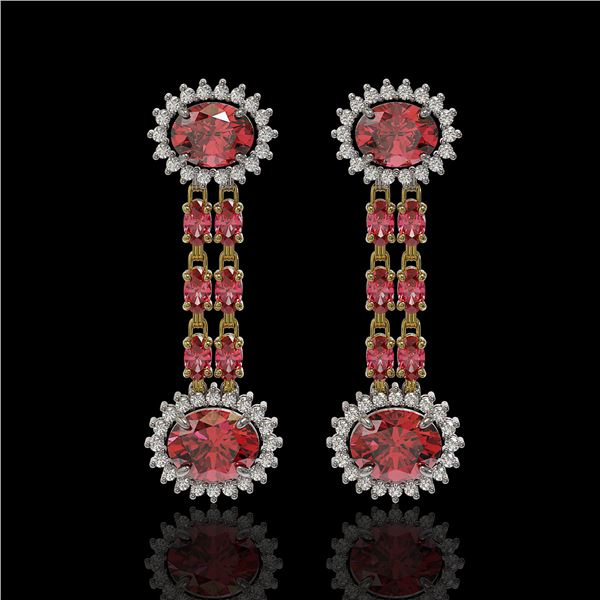 8.69 ctw Tourmaline & Diamond Earrings 14K Yellow Gold - REF-227K3Y