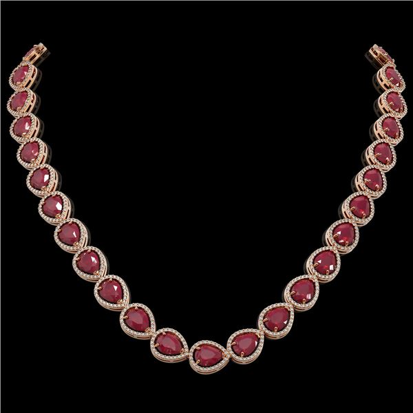 64.01 ctw Ruby & Diamond Micro Pave Halo Necklace 10k Rose Gold - REF-854F5M