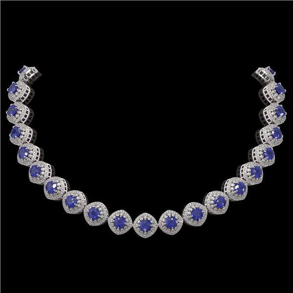 82.17 ctw Sapphire & Diamond Victorian Necklace 14K White Gold - REF-1800R2K