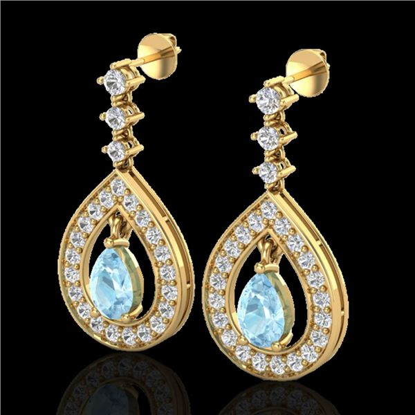 2.25 ctw Aquamarine & Micro Pave VS/SI Diamond Earrings 14k Yellow Gold - REF-103X3A