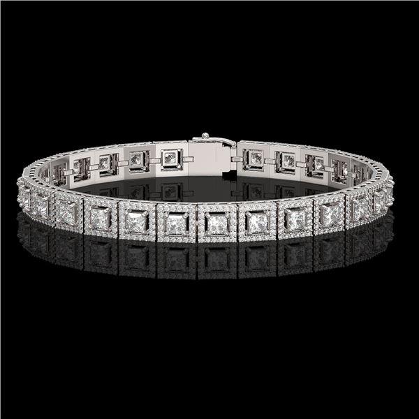 10.8 ctw Princess Cut Diamond Micro Pave Bracelet 18K White Gold - REF-923A9N