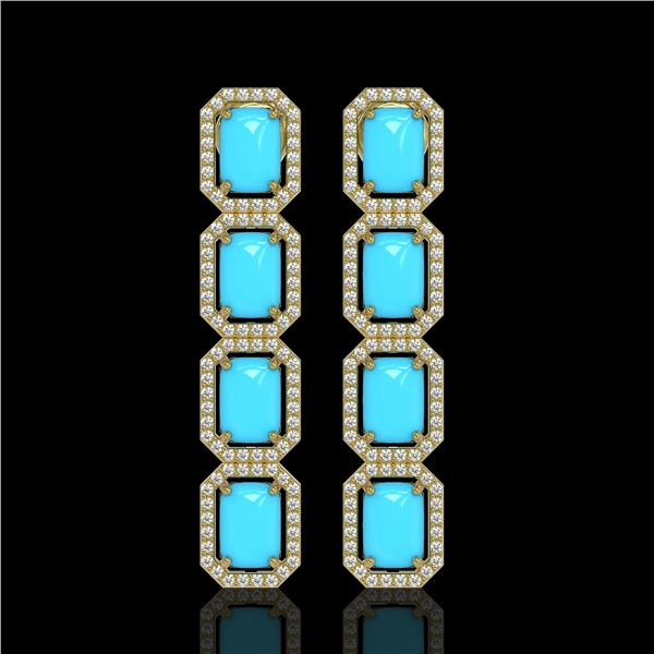 11.13 ctw Turquoise & Diamond Micro Pave Halo Earrings 10k Yellow Gold - REF-145R6K