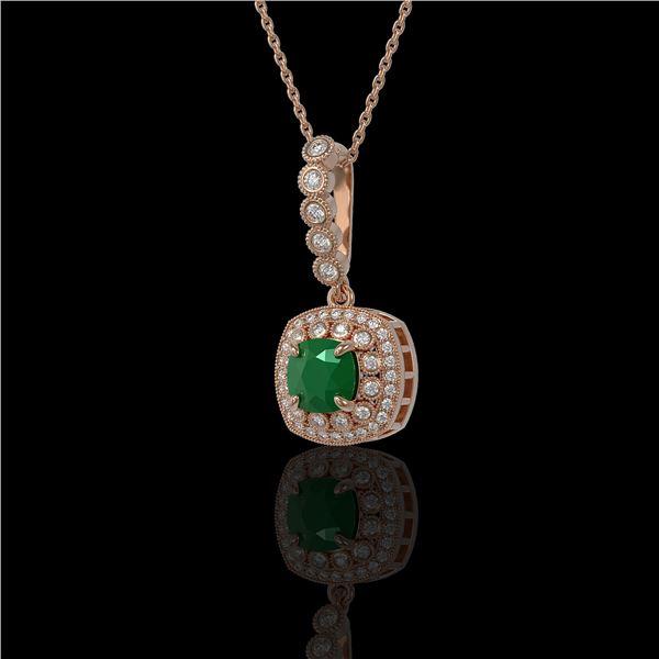 2.55 ctw Certified Emerald & Diamond Victorian Necklace 14K Rose Gold - REF-100M2G