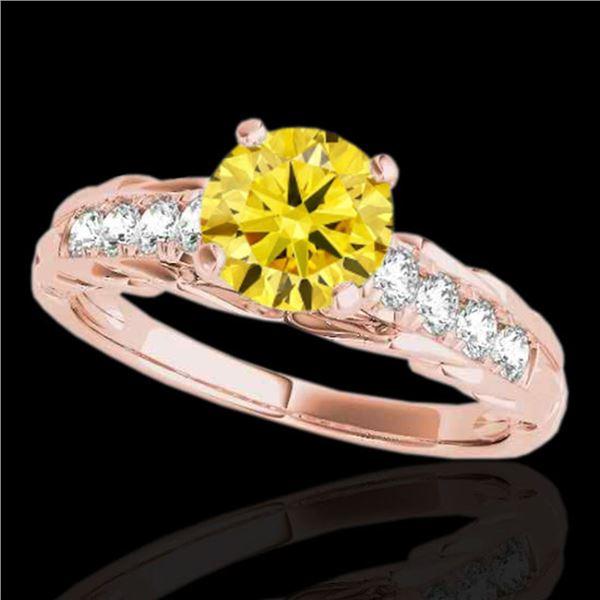 1.2 ctw Certified SI/I Fancy Intense Yellow Diamond Ring 10k Rose Gold - REF-197F8M
