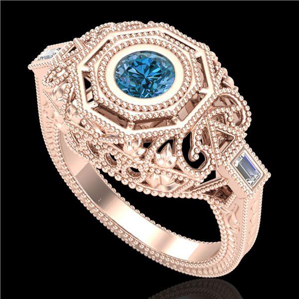 0.75 ctw Fancy Intense Blue Diamond Art Deco Ring 18k Rose Gold - REF-172Y8X