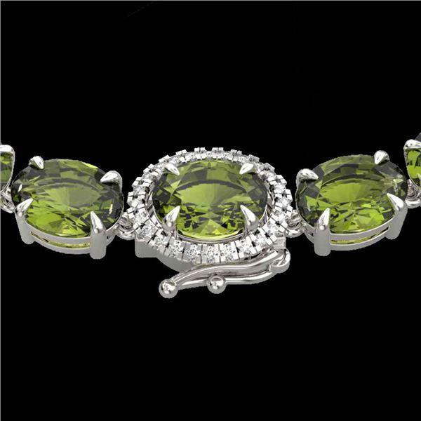 35.25 ctw Green Tourmaline & VS/SI Diamond Micro Necklace 14k White Gold - REF-340K2Y