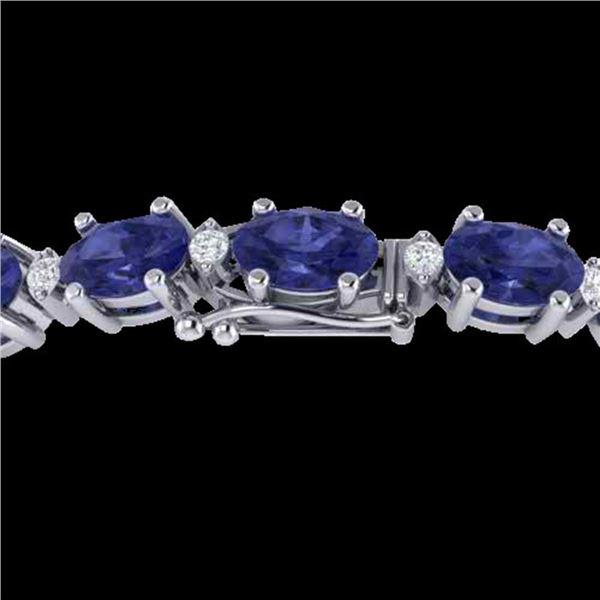 15 ctw Tanzanite & VS/SI Diamond Eternity Bracelet 10k White Gold - REF-143H6R