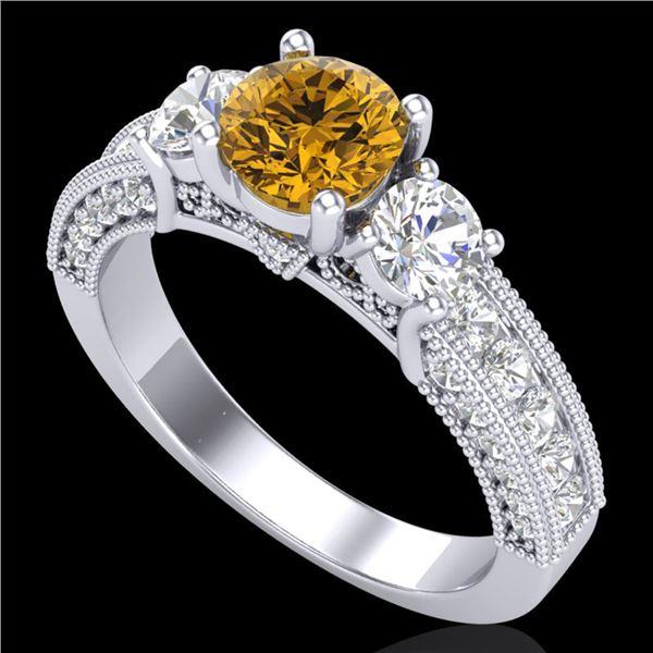 2.07 ctw Intense Fancy Yellow Diamond Art Deco Ring 18k White Gold - REF-254W5H