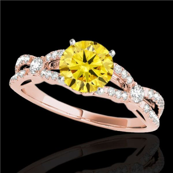 1.35 ctw Certified SI/I Fancy Intense Yellow Diamond Ring 10k Rose Gold - REF-190K9Y